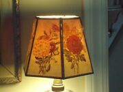 6 Panel Paper Lamp Shade Shabby Chic Floral Vintage