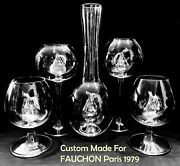 Vintage Exotic French Goblets And Decanter Set Pear Shape Set One Of A Kind/ New