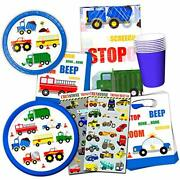 Cars And Trucks Party Supplies Ultimate Set - Birthday Party Decorations Par...