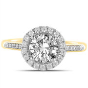 Round Cut 1.31 Ct Real Diamond Engagement Ring Solid 18k Yellow Gold Size 6 7 8