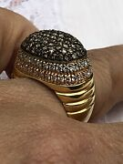 Estate Heavy Well Made 18k Rose Yellow White Gold Black White Pave Diamond Ring