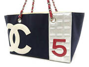 Coco Mark Tote Canvas Leather A18644 Navy Cb2088