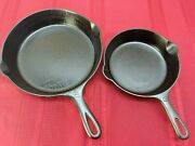 Vintage Griswold Cast Iron Skillet Small Block Logo 5 724 And 8 704c Two Matchng