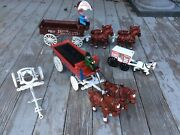Cast Iron Toy Collection Veggy, Milk And Beer Wagons, Drivers And Horses Large Lot