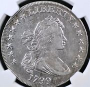 1799 Draped Bust Dollar Ngc Xf Detail Obv Scratched Cleaned Bright And Lustrous