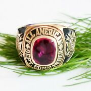 10k Yellow Gold All American Dept Commander Veteran Foreign Wars Ruby Ring Sz 13