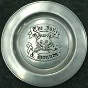 Rare Vintage Wilton Columbia Pa Pewter Plate Usa The Fox And Hounds Bar Rwp