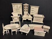 Vintage Wooden Doll House Furniture Cream Hand Painted Pink Flowers 15 Piece Set