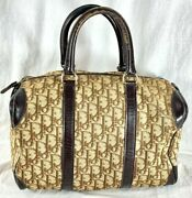 Christian Dior Vintage Authentic Doctor Satchel Bag Brown Canvas And Leather