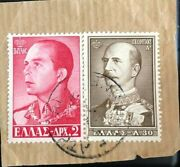 Greece 1956,30 King George I. 1957,king Paul I. 2dr Collectible Stamp On Cover