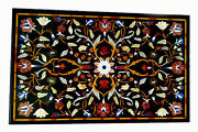 4and039x2and039 Black Marble Table Top Coffee Mosaic Inlay Antique Decor Room Decor K1