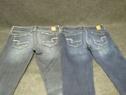 2 Pair American Eagle Dark Wash Jeans Slim Boot And Artist Stretch Size 6 X-long