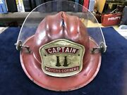 Vintage Cairns And Brothers Fireman's Hat And Shield And Helmet Badge Captain Moyers