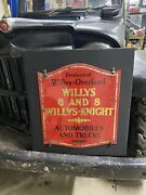 Rare 1 Of 1 Willys Overland Willys-knight Glass Door Sign 1920's Buffalo Ny