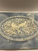 Incolay Soapstone Blue White Bird Of Paradise Floral Jewelry Trinket Box Hinged