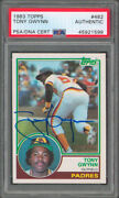 Padres Tony Gwynn Authentic Signed 1983 Topps 482 Rookie Card Psa/dna Slabbed