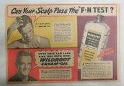 Wildroot Cream-oil Hair Tonic Ad Can Your Scalp Pass The Test 1940's-50's
