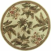 8and039 Ivory Hand Tufted Bordered Tropical Plants Round Indoor Area Rug