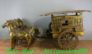 31old China Warring States Period Bronze Gilt Inscription Horse-drawn Carriage