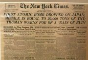Rare Newspaper New York Times 7 August 1945 Atomic B Used On Japan
