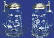 Fishing Lures German Glass Beer Stein W/ An Authentic Antique And Modern Fishi...