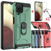 For Samsung Galaxy A12 A02s A52 Case Shockproof Ring Stand Cover+tempered Glass