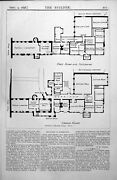 Antique Print Additions To Reading College Plans First Floor Mezzanine 1898