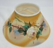Antique Hand Painted Roses Floral Design Milk Glass Lamp Shade - Bell Shaped
