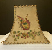Vintage Small Fiberglass Lamp Shade Hand Painted Butterfly And Flowers Clip On