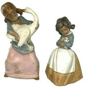 Lladro Pair Of Gres Porcelain Farm Girl Figurines 1978 - Girls With Rabbit Goose