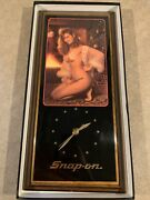 Snap On Tools Christmas Girl Wooden Wall Clock 23 X 11 Vintage Discontinued