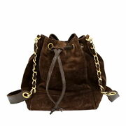 Cc Coco Drawstring Chain Shoulder Bag Suede Brown Leather Ex++
