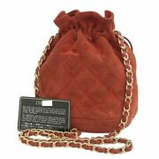 Cc Coco Drawstring Chain Shoulder Bag Suede Red Leather Ex++