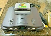Nintendo 64 Charcoal Gray Console System Bundle With Super Mario 64 Game Tested