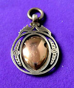 Antique Sterling Silver And Gold Watch Chain Fob Engraved,pendant.1892
