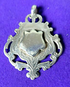 Antique Sterling Silver Large Watch Chain Fob Engraved ,pendant.1915