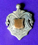 Antique Sterling Silver And Gold Watch Chain Fob Engraved ,pendant.1933