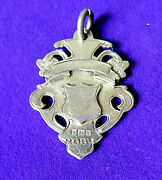 Antique Sterling Silver Watch Chain Fob Double Sides Engraved ,pendant.1906