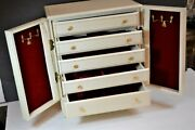 1950s Vtg 6 Drawer Divided Jewelry Box Chest Italian Leather Gold Gilt 14x12x8