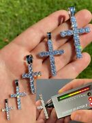 Real 925 Silver Cross Iced Pendant Moissanite Necklace Pass Diamond Test Hip Hop