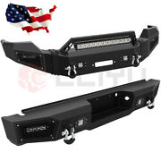 Front + Rear Bumper W/ Winch Plate Led Light Bar For 2011-2016 Ford F 250