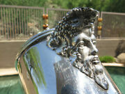 Rare Sterling Silver Crystal Glass Decanter Ewer Claret Crown Queen Bacchus Mask