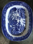 Staffordshire Blue And White Large Platter