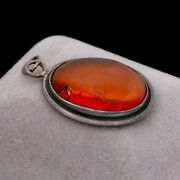 Antique Vintage Deco 925 Sterling Silver Baltic Amber Oval Necklace Pendant 7.4g