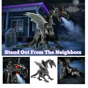 69inch Tall Halloween Giant Black Silver Dragon Home Accents Holiday Brand New