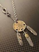 Goroand039s Three Feathers With A Coin Middle Size Charm Necklace F/s From Japan