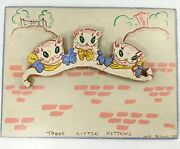 Uncle Bernie Educational Toys Hand Painted Vintage New York 3 Little Kittens Cat