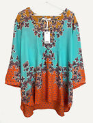 New Rose + Olive Plus Size 1x 2x 3x Tunic Top Blouse Turquoise Orange Floral