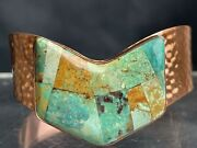 Vintage Mine Finds Jay King Turquoise Inlay Hammered Copper Cuff Bracelet