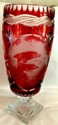 Cranberry 16andrdquo Cut-to-clear Crystal Vase. Etched Leaping Dolphins Scene. Pedestal
